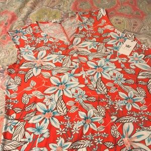 CHAUS | Coral & Aqua Floral-Patterned Tunic Blouse